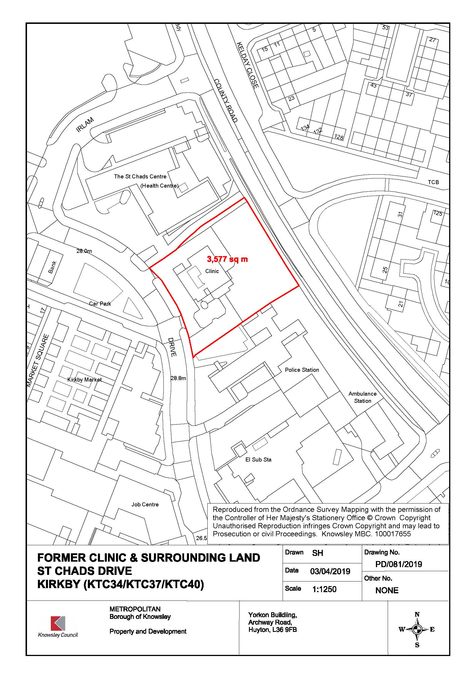 Map of St Chad's site in Kirkby